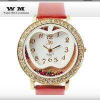 apples quartz watch - Apple print Dress Watch women rhinestone Watches analog Ladies quartz watch beads including shinning watches New WA0181X