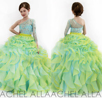 aqua color flowers - New Beauty Little Girls Glitz Pageant Dresses Ball Gown One Shoulder Beads Yellow And Aqua Long Sleeve Kids Flower Girl Dress DL1313771