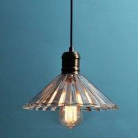 85-265V glass dining room - Vintage pendant lamp Creative glass crystal umbrella pendant light Retro edison bulb lighting Dining room decoration lights