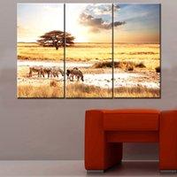 african zebra - Original US high tech HD Print Landscape Oil Painting Wall Decor Art on Canvas No frame African sunset and zebra PC