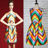 adult rainbow tutus - woman dress summer fashion rainbow stripes printing sleeveless tutu sexy dresses ladies dress Y1116