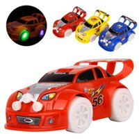 mini electric car toy - mini car toy Automatic Steering LED Wheel Music Racing Car model Electric Toy for kids children Christmas gift