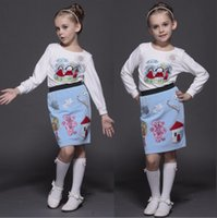 beaded skirt suits - 2015 Autumn and Winter Girls Suit Skirt Cotton T Shirt Dress Hand Beaded Embroidery Princess Dress a Generation of Fat