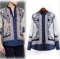 silk blouses for women - European Brand Fashion Vintage Totem Print Blouses Rayon Long Sleeve Silk Shirt Mandarin Collar Satin Blouse for Women