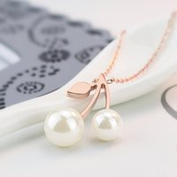 Pendant Necklaces big custom jewelry - titanium custom key chain selling pearl and leaf big small double pearl necklace women jewelry collar Pendant Necklaces for women