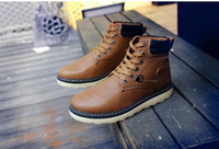 Wholesale 2015 New Winter Boots Outdoor High Top Shoes Thick Bottom Sutures Wear Waterproof Work Wear Boots Leisure Warm Martin Male Boots Wholes