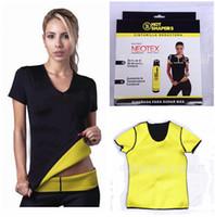 Wholesale 4 sizes Hot shapers women vest Stretch Neoprene slimming body shaper weight loss T shirt short sleeve tops R00G762