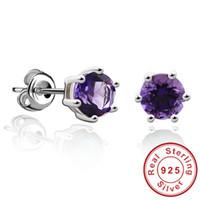 Wholesale Round ct Gemstone Natural Amethyst Citrine Garnet Peridot Blue Topaz Earrings Stud Sterling Silver Fine Jewelry Brand
