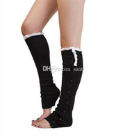 Wholesale New Arrive Long solid button down Lace Knitted Leg Warmers Boot Stocking Socks Boot Covers Leggings Tight