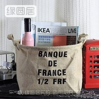 Wholesale Zakka groceries yellow linen storage baskets Storage basket alphabetical banner frontier Home Clearance Special