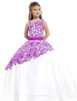 2016 Nueva púrpura blanco poco Grils del desfile de los vestidos de un hombro vestidos de la muchacha de flor del cordón del vestido de bola de la princesa del niño con la correa BO9383