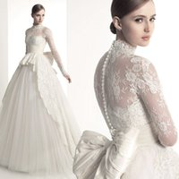 muslim bridal gown - 2015 High Neck Wedding Dresses with Long Sleeves Sexy Illusion Neckline Muslim Bridal Gown Sweep Train Cathedral Lace Wedding Gowns with Bow