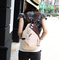 Wholesale Korean Style Casual Backpacks Candy Color Canvas Double Shoulder Bags Female Dot School Bags