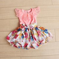 Wholesale 2015 Girls Summer Dresses Fashion Korean Floral Chiffon Children Dresses Sweet Lace Cute Kids Cool Girls Dresses Child Clothing BF123
