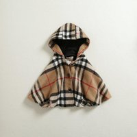 Wholesale Lowest Price Girls Winter Poncho Kids Clothing Classical Plaid Hoodies Add Wool Cloak High Quality Childs Grid Autumn Warmth Tops