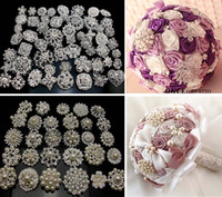 Wholesale 50PX Gold Silver Mixed Bulk Gold Plated Wedding Bridal Crystal Pearl Brooches Brooch Bouquet Faux Pearl Diamond