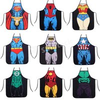 Wholesale Aprons Cotton Kitchen Funny Novelty Sexy Superman Batman Spiderman Cooking Apron Styles Fashion Creative Whimsy Apron Free DHL Factory