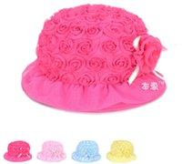 bamboo pile - Spring new solid color simple models piles of flowers baby Bumao color small brimmed hat lace roses JIA382