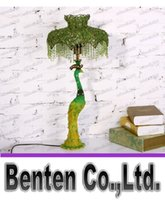 beautiful stained glass - Beautiful Green Peacock Table Lamp Modern Simple Style Stained Glass Peacock Lamp Living Room Bedroom Study Resin Peacock Lamp LLFA4687F