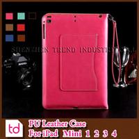 china wholesale handbags - Luxury Flip Folio Handbag Wallet Card Slot PU Leather Stand Holder Kickstand Shockproof Cover Case Cases For iPad Mini DHL