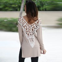 Wholesale Sexy Women Blusas Spring Fashion Long Sleeve Casual O neck Back Lace Patchwork Hollow Out Long Design Blouses Shirt Tops