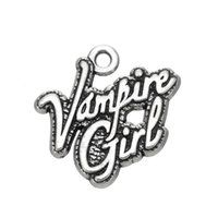 antique vampire - New Fashion Easy to diy Zinc Alloy Antique Silver Letter Vampire Girl Charm Jewelry jewelry making fit for necklace or b