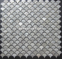 Wholesale D white mother of pearl tiles fan shaped shell mosaic for wall mosaic tiles shell mosaic bathroom wall tiles