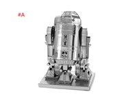 Wholesale New D Star Wars R2D2 robot Space fighter Star trek robot Decoration toys stainless steel DIY assembly model Aircraft Modle styles C251