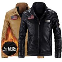 air wool coat - Fall Air Force Leather Jacket Men Winter PU Jackets and Coat Thickening Wool Windbreak Waterproof Warm Skin Lamb Fur Trench I72