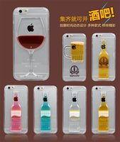 beer floating - 2015 Floating glitter liquid D Red Wine Cocktail Beer Hourglass Smart Phone Cover for iphone case clear Transparent PC