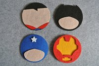 Wholesale Superhero Home Table Cup Mat Creative Decor Coffee Drink Placemat Spinning Drinks Coaster superman batman ironman captain Amrican