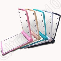Wholesale 1LOT HHA686 LED cosmetic mirror Mini Portable Girl Compact Hand Makeup Pocket Mirror with Led Light