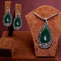 Wholesale 2PCS New Arrival Trendy antique silver green water drop beads Design Necklace Earrings Jewelry Set women