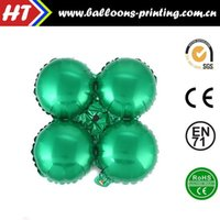 balloon posts - 50pcs alumnum balloons Festival party supplies Cheap whole network four ball round the post production of green mall arches arranged four