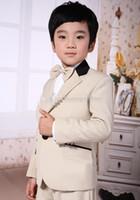 Wholesale New Two Buttons Boy Tuxedos Notch Lapel Children Suit Beige Kid Wedding Prom Suits Jacket Pants Tie