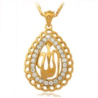 Pendant Necklaces religious jewelry - New Islamic Allah Big Pendant Charms K Real Gold Plated Rhinestone Choker Necklace Religious Muslim Jewelry For Women MGC P248