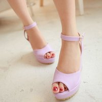 Wholesale Candy Color Sandals South Korea style Wedge High Heel Shoes PU leather Platform High Heels