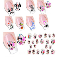 Wholesale Sticker 3d Nail China - 10pcs New Fashion Orient China Style Geisha Girl Flower Design Nail Art 3D Water Transfer Sticker Decal for Nails DIY Nail Tools