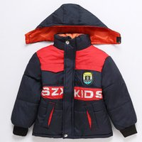 Wholesale New winter thick shield of about years old children s hooded coat pattern cartoon boy rayon C