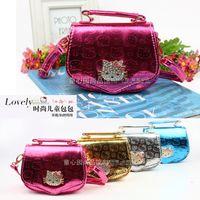 Wholesale 4 colors PU leather Cartoon KT Cat Handbag Girls fashion Single Shoulder Mini Bag for Kids Handbag Children Gift