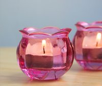 glass candle holder - Pink Glass Flower Candle Holders Home Decoration Wedding Decor