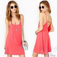 Cheap 2014 New Fashion Sexy Women Summer Sexy Backless Spaghetti Strap Vest Dress Deep V Sling Strap Halter Dress Plus Size