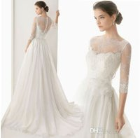 Wholesale Cheap Lace A Line Wedding Dresses Sequins Beads Applique Sheer Scoop Illusion Half Sleeve Backless Zipper Sexy Bridal Gowns Custom Made