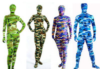 Wholesale 7 Patterns Full Body Camouflage Lycra Spandex Pattern Fetish Zentai Suits Halloween Party Costumes