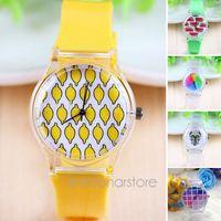 Wholesale New Fashion Fresh Summer Lovely Transparent Case Wristwatch Women Candy Color Quartz Rubber Band Wrist Watch Clock Watches MHM393
