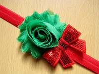 beautiful hair bows - Beautiful fashion Christmas style Chiffon Burr spent Baby hair band Children sequined bow headband mix color