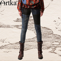 artka fashion - Artka Women S Winter Vintage National Embroidery Pocket Water Washed Contrast Color Patchwork Jeans KN19939Q