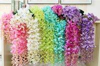 wisteria vines - 2016 Long Elegant Artificial Silk Flower Wisteria Vine Rattan For Wedding Centerpieces Decorations Bouquet Garland Home Ornament BSH17