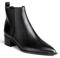 acne fashion - High Quality Fashion Acne Studios Jensen black Chelsea boots pointed toe angular shaped contrasting elastic shoes