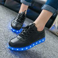 Wholesale 7 Colors LED luminous shoes unisex sneakers men women sneakers USB charging light shoes colorful glowing leisure flat shoes